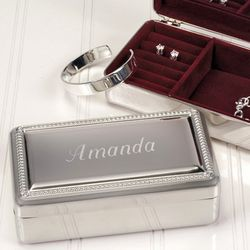 Engraved Silver Plated Jewelry Box