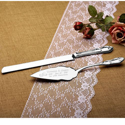 Personalized Wedding Rings Silver Cake Knife and Server Set