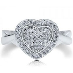 Sterling Silver Heart Shaped Micro Pave Cubic Zirconia Ring