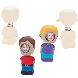 Unpainted Ceramic Face Frame Bobbleheads