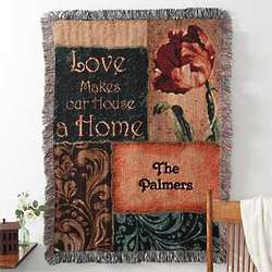 Love Makes Our House a Home Personalized Family Afghan