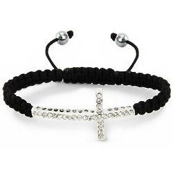 Macrame Sideways Cross Shamballa Bracelet