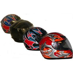 Black Contoured Full-Face Street Bike Helmet
