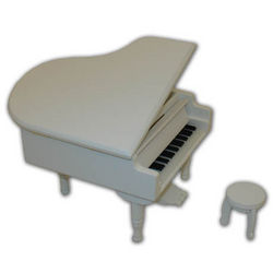 Small White Wooden Piano Musical Jewelry Box