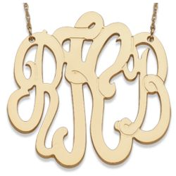 Gold Over Sterling 3 Initial Monogram Necklace