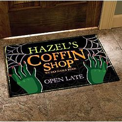 Personalized Coffin Shop Halloween Doormat