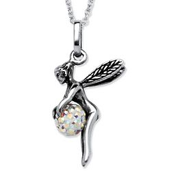 Aurora Borealis Crystal Ball Pixie Pendant in Sterling Silver