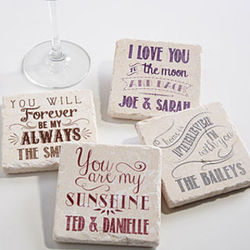 Love Quotes Personalized Tumbled Stone Coaster Set