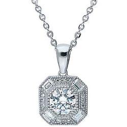Silver Art DDeco Halo Necklace with Swarovski Zirconia