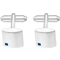 Men's Square Cuff Links in Silver with Sapphires