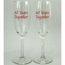 40th Wedding Anniversary Champagne Glasses