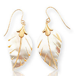 14k Yellow Gold Leaf Mother of Pearl Drop Earrings
