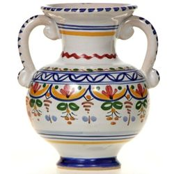 Spanish Two Handled Ceramic Bud Vase