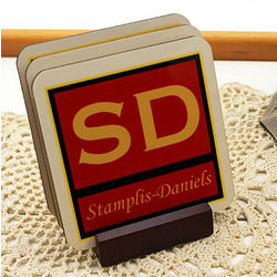 Four Piece Personalized Coaster Set with Cork Back