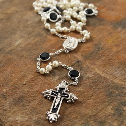 Black Swarovski Crystal and Pearl Vatican Rosary