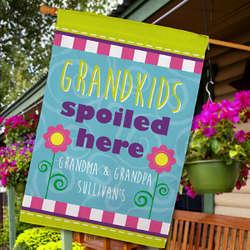 Grandchildren Spoiled Here Personalized House Flag