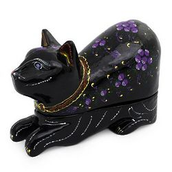 Blue-Eyed Kitty Cat Lacquered Wood Box