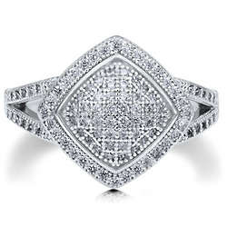 Sterling Silver Square Shaped Micro Pave Cubic Zirconia Ring