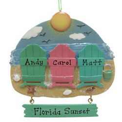 Personalized Beach Family of 3 Christmas Ornament