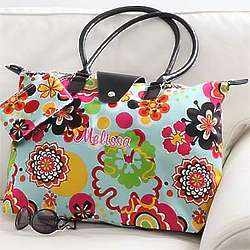 Flower Power Embroidered Fold-Up Tote Bag