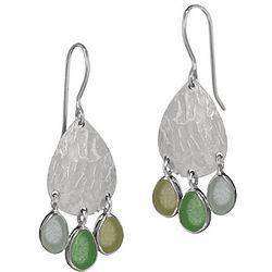 Sea Glass Hammered Disc Earrings