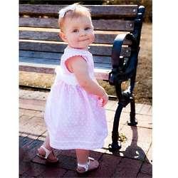 Baby's Pink Polka Dot Pique Dress with Sash