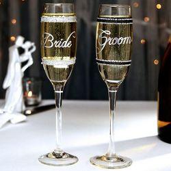 Jeweled Wedding Flute Set