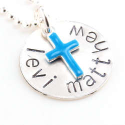 Baby Boy's Personalized Hand Stamped Baptism Necklace