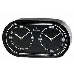 Satin Black Finish Dual Time Desk Clock