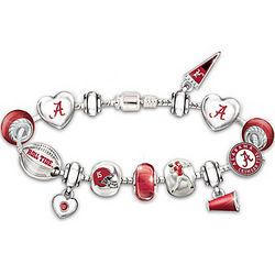 Alabama Crimson Tide Charm Bracelet with Swarovski Crystals
