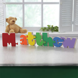 Boy's Personalized Name Wooden Interlocking Puzzle