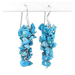 Hand Crafted Turquoise Earrings in Silver