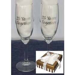 25th Wedding Anniversary Champagne Glasses