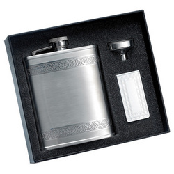 6 oz. Stainless Steel Flask & Money Clip Gift Set