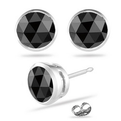 3/4 Ct Round Black Diamond Stud Earrings in 14K White Gold