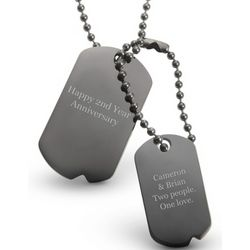 Engravable Gunmetal Double Dog Tag Necklace