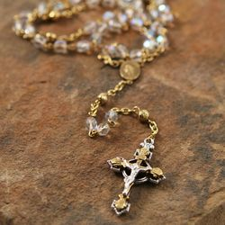 Two Tone Crucifix Crystal Rosary