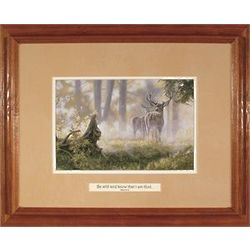 Deer in the Mist Framed Sympathy Print with Verse