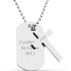 Boy's Silver Cross Dog Tag Necklace