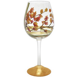 Fall Leaves Wine Glass