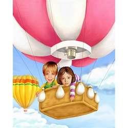 Hot Air Balloon Ride Caricature Print