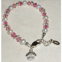 Sweet Cupcake Sterling Silver Children's Bracelet