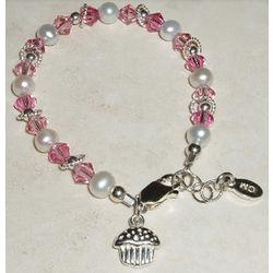 Sweet Cupcake Sterling Silver Children's Bracelet