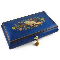 Royal Blue Instrument and Floral Wood Inlay Music Box
