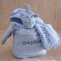 Blue Personalized Baby Terry Bath Set