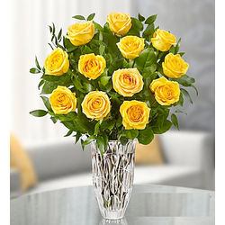 Marquis by Waterford Vase with Premium Yellow Roses