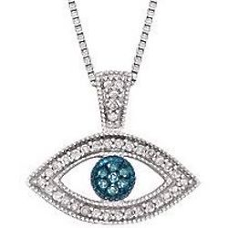 Blue and White Diamond Evil Eye Pendant Necklace