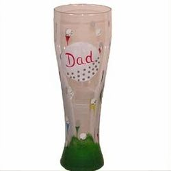Golf Theme Hand Painted Pilsner Glass