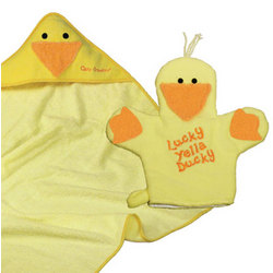 Yellow Ducky Hooded Towel and Bath Mitt Set