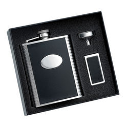 Leather Stainless Steel Flask and Money Clip Gift Set